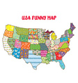 United States funny map with patterns vector image vector image