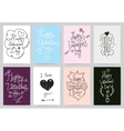 Valentines Day greeting cards 8 set Hand drawn vector image vector image
