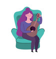 woman sitting with guitar isolated icon on white vector image