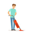 young smiling man cleaning the floor with steam vector image vector image