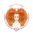 zodiac sign portrait of a woman aries vector image vector image