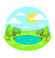 funny cartoon sunny day landscape vector image