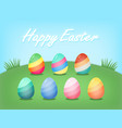 colorful striped easter egg in yard happy easter vector image