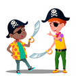 african and white kids play pirates and fighting vector image