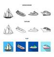 ancient sailboat motor boat scooter marine vector image vector image