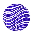 Blue circle with wavy stripes grunge vector image