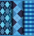blue set of tartan checkered and argyle texture vector image