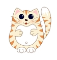 Cartoon smiling stoutish gentle beige kitty with vector image