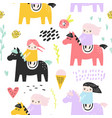 childish seamless pattern with cute girls and pony vector image vector image
