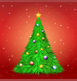 christmas tree with decoration ball and star vector image vector image