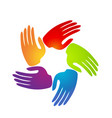 colorful caring supportive hands icon vector image vector image
