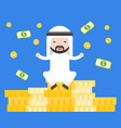 cute arab businessman sitting on pile of gold vector image