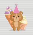 cute dog with ice cream kawaii birthday card vector image