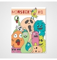 Funny cartoon monsters poster vector image