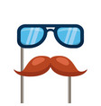 glasses and mustache carnival costume party vector image
