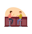happy friends eating in bar drinking cocktail vector image