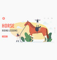 horse riding lessons landing page template vector image
