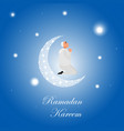 islamic man praying in cartoon style at night vector image vector image