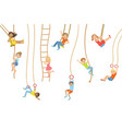 kids on swings and other rope sports equipment vector image