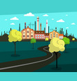 landscape with factory on background and empty vector image vector image