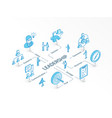 leadership isometric concept connected line 3d vector image vector image