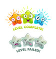 level complete and level failed screens game over vector image vector image