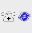 line first aid phone icon and grunge vector image vector image