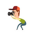 male photographer with photo camera paparazzi vector image vector image