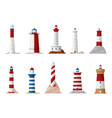 nautical lighthouse and navigation beacon icons vector image vector image