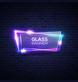 neon lights sign with glass plate on brick wall vector image