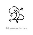 outline moon and stars icon isolated black simple vector image vector image