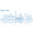 outline rostov-on-don russia city skyline with vector image vector image