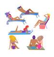 people sunbathing at summer recreatiation set vector image