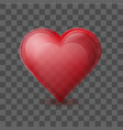 red heart on background with transparent effect vector image vector image