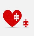 red pieces puzzle romantic heart valentine day vector image vector image