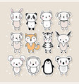 set cute hand drawn stickers with animals vector image vector image