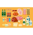 Set of Daily Food Products in Flat Design vector image vector image