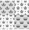 Set of four seamless patterns with crowns