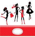Set of silhouettes of fashionable girls on a white vector image