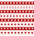 set red and white valentines day icons vector image