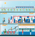 sky train station with people vector image vector image