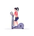 Sports woman doing cardio exercise girl using