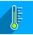Temperature Level Flat Square Icon with Long vector image vector image