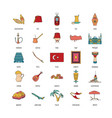 turkey icons set cartoon style vector image vector image