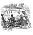 turkish rug weavers is a two turkish men weaving vector image vector image
