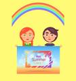 two children holding one hot summer days banner