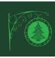 Vintage sign Christmas tree vector image