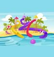 water amusement park cartoon aquapark summer vector image