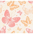 Seamless pattern with butterflies in neutral vector image