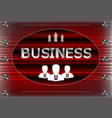 three icons and word business on a red vector image